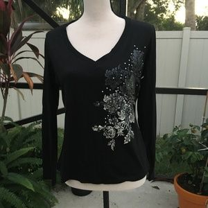 New York & Company Blk/Silver Lg Sleeve V Neck Top